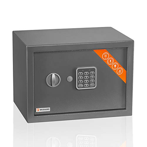 Brihard Familien Safe Elektronischer - 25x35x25cm Codesafe - Haussicherheitsbox mit Digitalem Zahlenschloss, LED-Bildschirm und Herausnehmbarer Ablage