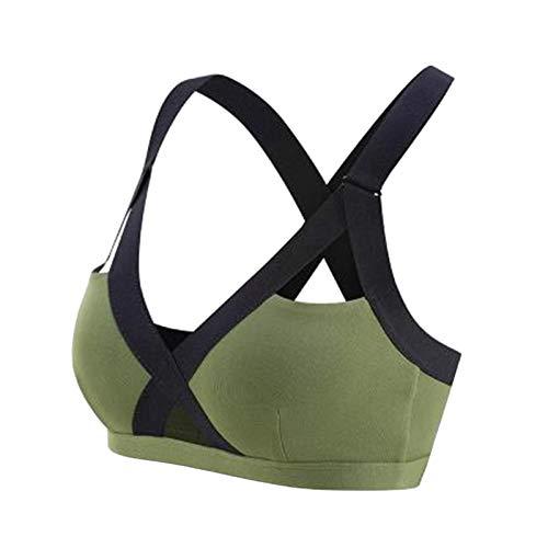 Youpin S-XXXL - Sujetadores deportivos de verano 2020 para el gimnasio, para mujer, vendaje cruzado, chaleco deportivo, sujetador para correr, yoga, Tank ropa interior corta (color: verde, tamaño: S)