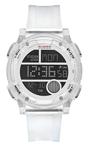 GUESS Men's Stainless Steel Quartz Watch with Plastic Strap, White, 24 (Model: GW0226G1)