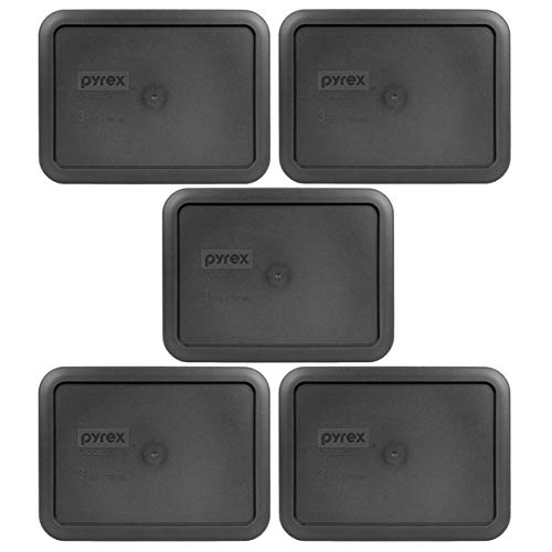 Pyrex 7210-PC Rectangle 3 Cup Charcoal Grey Storage Lid for Glass Dish - 5 Pack