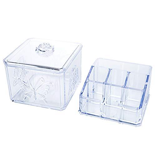 YJingMM Caja para Cosmeticos Porta Brochas Maquillaje Cajas Decorativas para Almacenar por Tocador De Maquillaje Mesas para Recibidor Clear