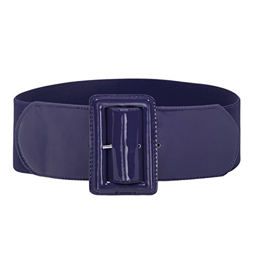 Womens Covered Buckle Stretchy Waist Patent Leather Skinny Belt Navy Blue S