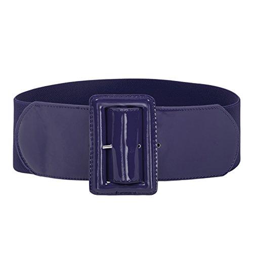 Women Wide Elastic Waist Belt Cinch Belt Trimmer Stretch Waistband Navy Blue 3XL