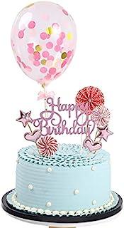 FWE Folding fan balloon cake top decoration, cake top decoration happy birthday cake top decoration cake decoration suppli...