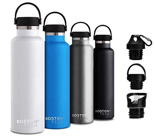 Boston Tech SP2 Botella de Agua Acero Inoxidable con Doble Pared al vacío, sin BPA Ecológica, Mantiene Bebidas frías por 24h y Calientes por 12h, Reutilizable para Deporte, Gimnasio, Viajes