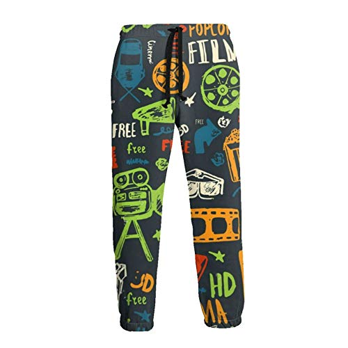 Pantaloni della tuta da uomo in stile retrò cinema stampa 3D pantaloni da jogging Nero XL