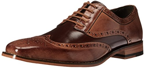 STACY ADAMS mens Tinsley - Wingtip Oxford, Tan/Brown, 10.5 US