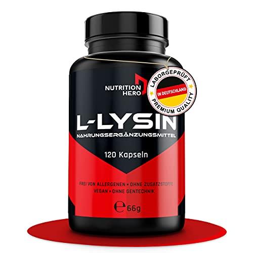 Nutrition Hero – Cápsulas premium L-Lysin [120 unidades] – Aminoácido esencial alta [450 mg] – vegano, probado en laboratorio y sin aditivos