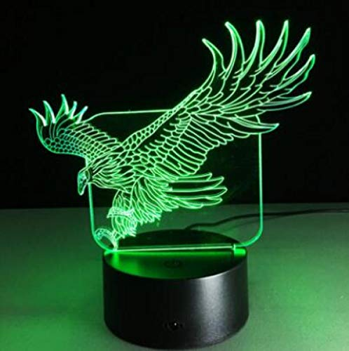 3D Flying Big Eagle Night Light 7 Colorful Lamp for Office Hotel Bedroom Bar Mood Lamp Touch Sensor Switch