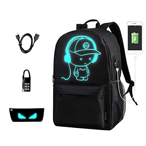 School Backpack Bookbag Anime Cartoon Backpack Luminous Casual Daypack with USB Charging Port for Boys Girls Teenagers