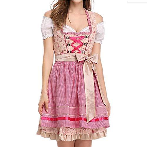 MeButy Sexy Nachthemd Damen Traditionelles Oktoberfest Kostüm Deutschland Bayern Wench Kostüm Bier Mädchen Kleid-Rosa_XL