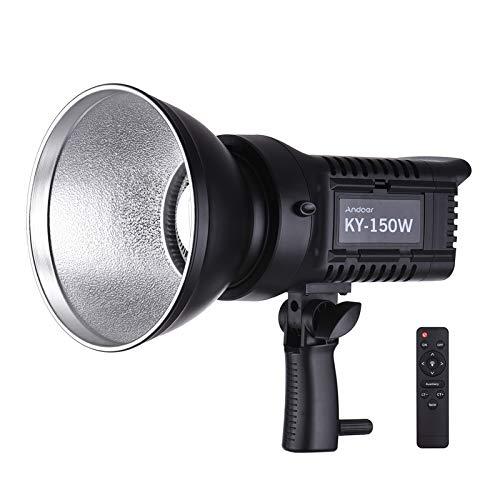 Andoer Luce Video Light da Studio Portrabile150 W Luminoso Daylight 5600 K CRI93+TCLI95+16000LM Luminosità Dimmable Bowens Montaggio Carico USB con Telecomando Adattatore AC