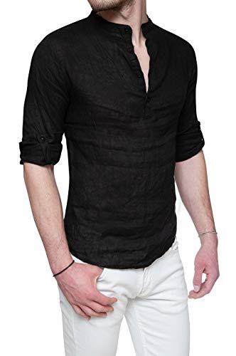 Evoga Camicia di Lino Uomo Serafino Estiva Nero Casual con Collo alla Coreana (S, Nero)