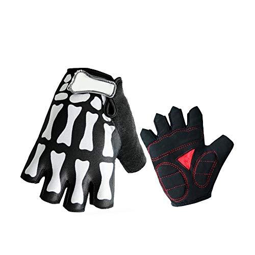 Guantes de dedo completo, unisex, diseño de calavera, para bicicleta, motocicleta, ciclismo