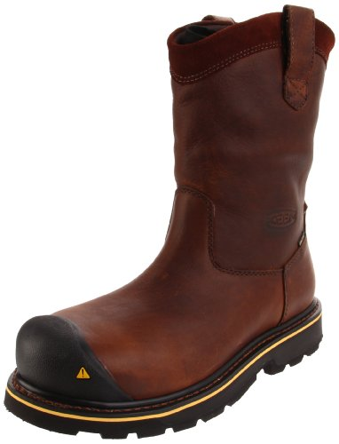 KEEN Utility Men's Dallas Wellington Steel Toe Waterproof Pull On Work Boot Dark Brown/Black, 9EE