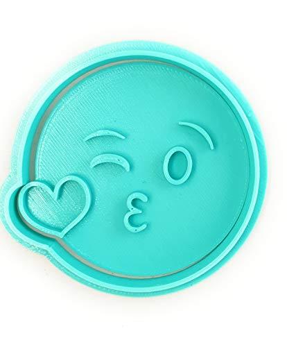 Desconocido Molde Cortador de Galletas Emoticono – Emoji Beso (Turquesa)