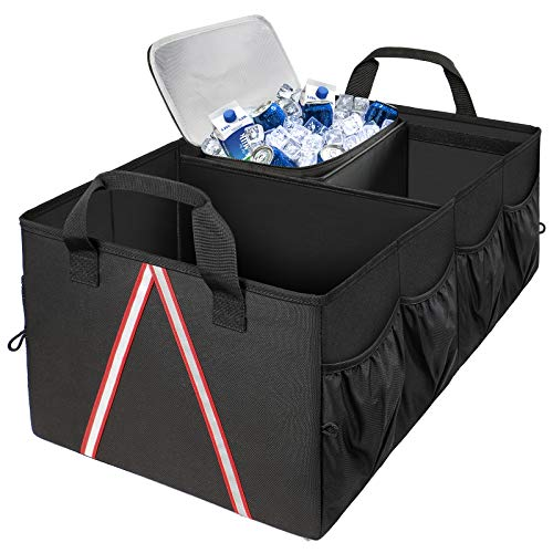 Trunk Organizer with Cooler, Car Organizers and Storage for SUV Sedan Caddy, Expendable Foldable Large Car Trunk Organizer Bag for Cargo Grocery Accessories for Women with Pockets, Black
