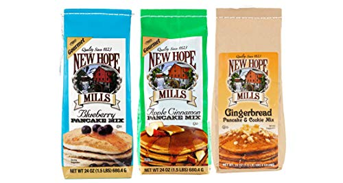 New Hope Mills Blueberry, Apple Cinammon & Gingerbread Pancake Mix Variety 3-Pack