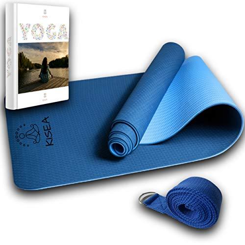 KISEA - Tapis de yoga et sangle d'étirement -E-BOOK ET PROGRAMME SANTÉ VIDEO OFFERT - Pour le yoga chin mudra, Pilates, gymnastique à la maison - idéal pour la méditation, la relaxation et la détente.
