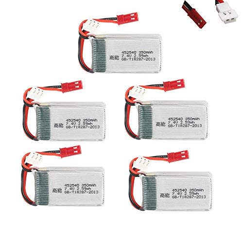 Batteria Lipo 7.4v 350mAh per MJX X401H X402 515W 515V 515 RC Mini FPV elicotteri Drone Quadcopter Pezzi di Ricambio 2s Batteria 5 Pezzi