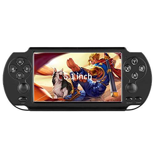 GEQWE Consola De Videojuegos Portátil, X9-S 8G, Más De 10,000 Juegos Integrados, Pantalla HD De 5,1 Pulgadas con Lente, Niños