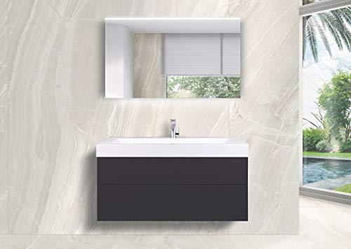 Intarbad ~ Badmöbel Set grifflos 120 cm Waschtisch Evermite, mit Unterschrank und Led Lichtspiegel Bramberg Fichte IB1797