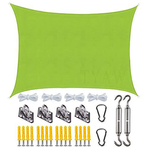 Vela de Sombra, Toldo Vela Rectangular con Kit de Montaje,Protección Rayos UV Impermeable,para Patio Exteriores Jardín- Green|| 4x5m(13x16ft)