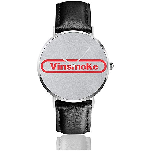 Unisex Business Casual Vinsmoke Sanji Retro Spielekonsole Logo Einteilige Uhren Quarzlederuhr mit schwarzem Lederband