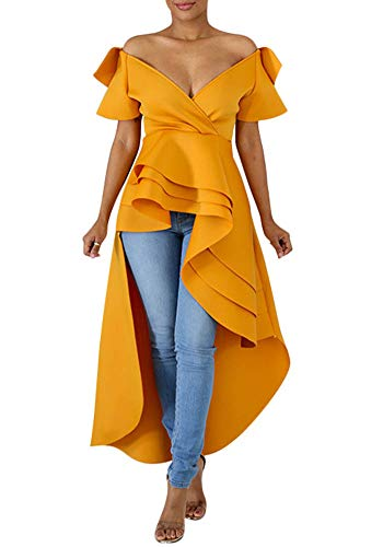 Peplum Tops for Women - Bodycon Wedding Shirt Dress High Low Unique Short Sleeve Dresses Yellow