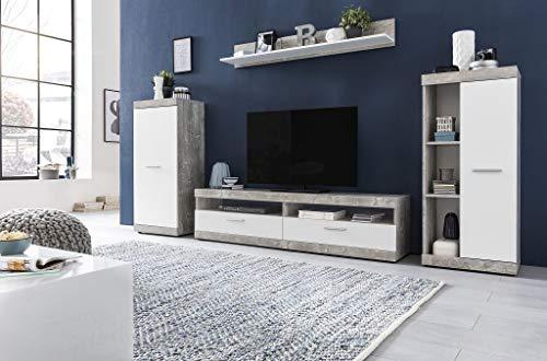 Dreams4Home Wohnwand 'Evo' - Schrankwand, Wohnzimmerwand, Medienwand, ohne Bel, Farbe:Beton/weiß