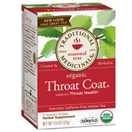 Organic Throat Coat Tea, 16 Bags by Traditional Medicinals Teas (Pack of 3)