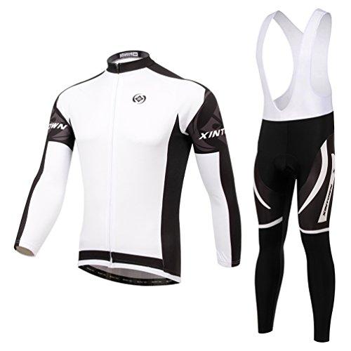 Baymate Unisexe Séchage Rapide Vêtements de Cyclisme Manches Longues Veste + Respirant Cuissard Pantalons Blanc XL
