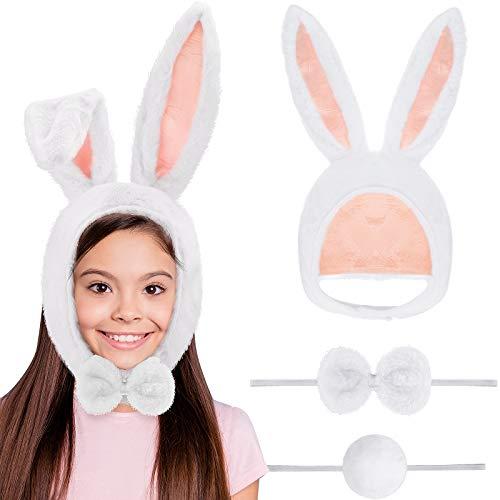 Kit de Disfraz de Conejo Sombrero de Orejas de Conejo de Pascua Kit de Pajarita y Cola para Nios y Adultos Favores de Fiesta, Paquete de 3 (Blanco)