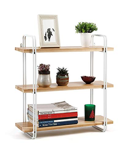 HYNAWIN 3 Tier Corner Shelf Bamboo & Metal Storage Spice Rack-Desk Bookshelf Display Shelves Space Saving Organizer -Adjustable Rack for Kitchen,Bed Room, Office-Best Home Décor (Renewed)