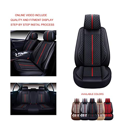 OASIS AUTO OS-007 Leather&Cloth Universal Car Seat Covers Automotive Vehicle Cushion for Sedan, SUV...