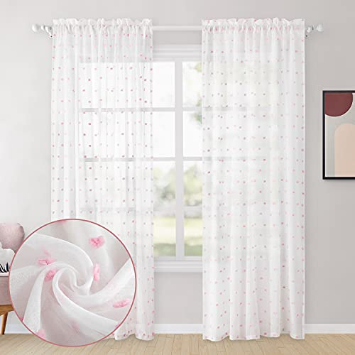 HOMEIDEAS White Sheer Curtains 52 X 84 Inch Length Pink Pom Pom 2 Panels Voile Pocket Window Curtains Textured Decorative Drapes for Bedroom Girls Room Nursery Kids Teenage Room Living Room