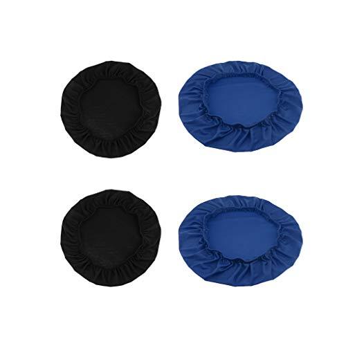 Fenteer Azul Y Negro, 2 Uds, Cómodos Protectores de Asiento de Silla de Comedor para Banquetes de Boda, Gran Decoración para El Hogar O La Oficina, Asiento D