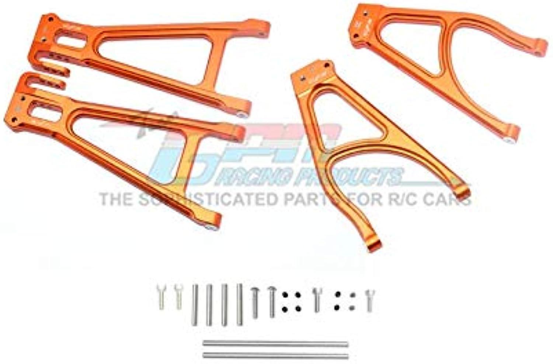 G.P.M. Traxxas ERevo 2.0 VXL Brushless (860864) Aluminum Rear Suspension Arm Set (Upper+Lower)  4Pc Set orange