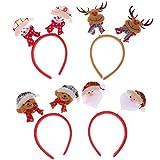 Lurrose Diademas navideñas de 4 piezas diadema de muñeco de nieve con oso de asta de santa cabeza de navidad bopper dibujos animados sombreros de primavera para niños niñas