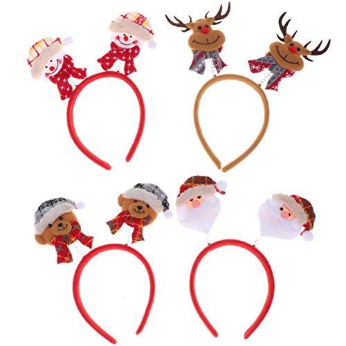 Lurrose Diademas navideñas de 4 piezas diadema de muñeco de nieve con oso de asta de santa cabeza de navidad...
