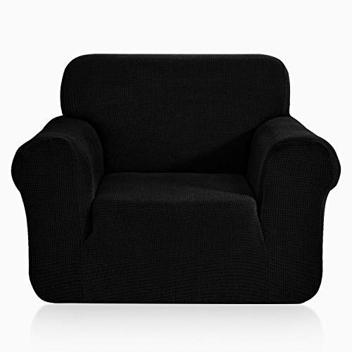 TOPOWN 1 Pieza Funda de sofá, Jacquard Funda Sofa Elasticas, Funda Sofá Antiarañazos, Cubierta Forros para Sofas, Ajustable Protector para Sofá (1 Plazas, Negro)