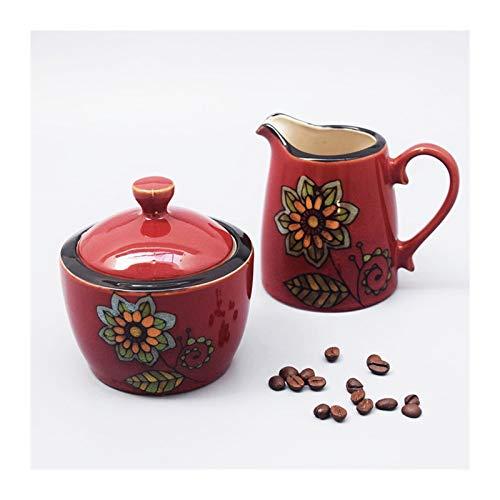 Xiaokeai El tazón de azúcar de cerámica y el Conjunto de tazón de Leche Set Coffe Cube Sugar Bowl con Tapa es un Buen compañero para el café y una Buena opción para Regalos a Familiares y Amigos