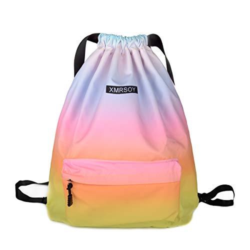 Gym Drawstring Backpack Water Resistant String Bag Nylon Cinch Sport Bag Sackpack
