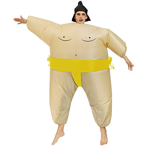 LJLis Aufblasbares Kostüm Aufblasbares Kostum Sumo Ringer Blow Up Outfit Cosplay,Gelb