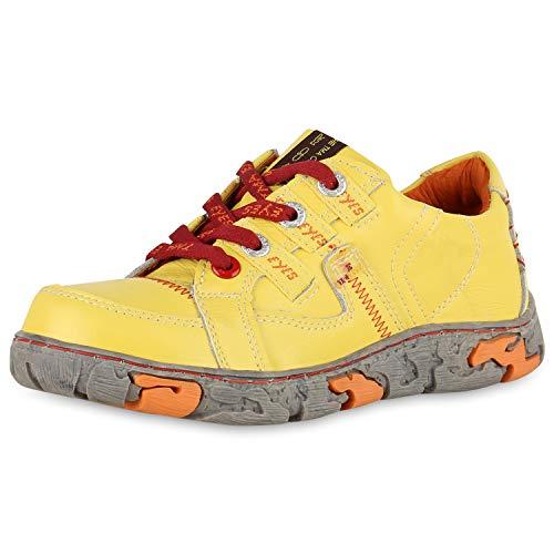 TMA Damen Sneaker Low Leder Freizeit Schuhe Vintage Turnschuhe 174947 Gelb 36 Scarpe Vita