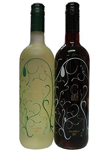 Caramelo Wein Geschenk Set - Rot Weiß lieblich je 750ml Flasche 10% Vol. Tsantali lieblicher griechischer süßer Rotwein Weißwein aus Griechenland + 10ml Sachet Olivenöl von Kreta
