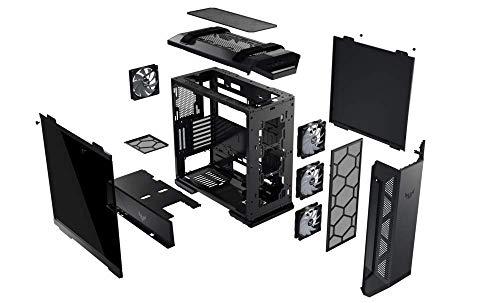 Asus TUF-GT501 Case Gaming, Supporto Schede Madri fino al Formato EATX, Pannello Frontale in Metallo, Pannello Laterale in Vetro Temperato, Ventola RGB da 120 mm, Ventola PWM 140 mm, Nero