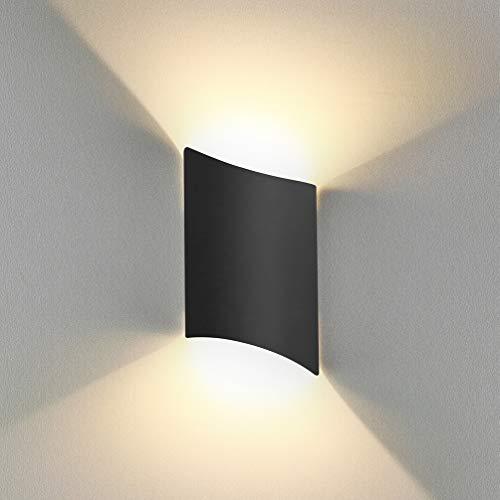 BELLALICHT LED Wandleuchte Innen Up Down Warmweiß, 12W LED Wandlampe Außen Wasserdicht IP65 Aluminium Modern Leuchte Wandlicht Wandbeleuchtung für Wohnzimmer Schlafzimmer Flur Treppenhaus Bad, Schwarz