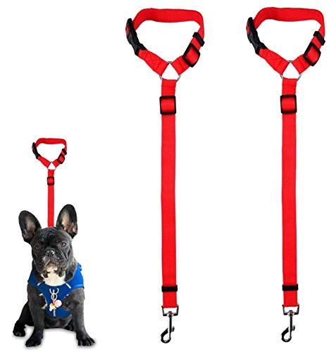 Dog Seat Belt, 2 Pack Safety Strap Car Headrest Restraint Adjustable Nylon Fabric Dog Restraints Vehicle Seat Belts Harness in Vehicle Travel Daily Use (Red)