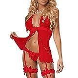 DURINM Lingerie Donna Sexy Pizzo Babydoll Hollow Halter Trasparente Camicia da Notte in Pizzo Pigiama Vestaglia Lace Intima da Notte Scollo a V Erotico Sleepwear (Rosso)